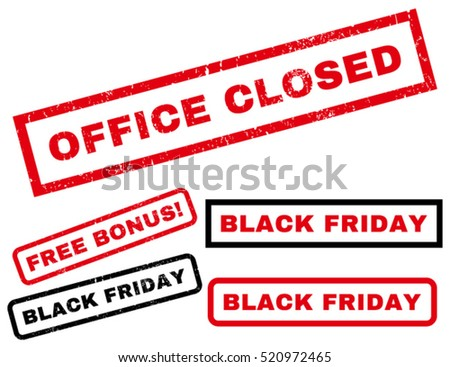 Office Closed rubber seal stamp watermark with bonus design elements for Black Friday sales. Caption inside rectangular shape with grunge design and scratched texture.