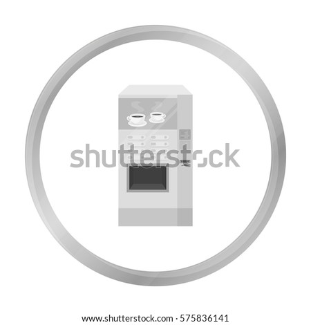 Office coffee vending machine icon in monochrome style isolated on white background. Office furniture and interior symbol stock vector illustration.