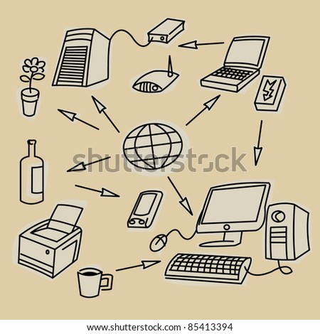 Office communication symbols - stock vector