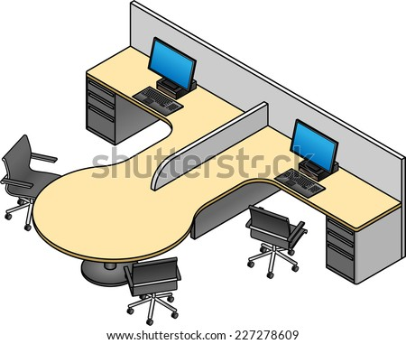 Office cubicles: twin configuration with drawer units and a collaboration / meeting table.  - stock vector