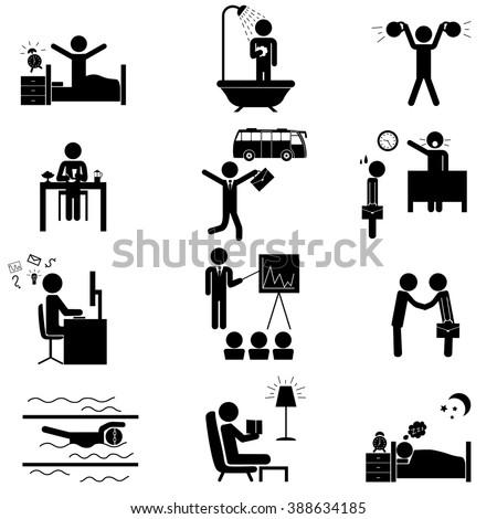 Office daily routine life. Vector icons set isolated on white - stock vector
