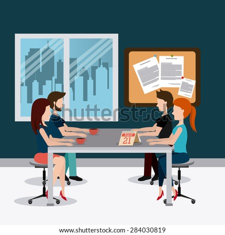 Office design over office scene background, vector illustration. - stock vector