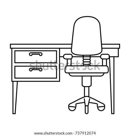 office desk clipart black and white