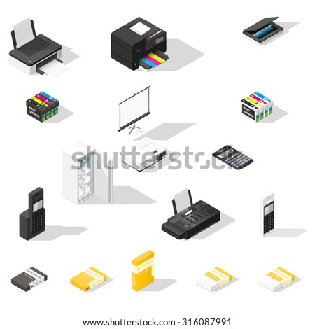 Office detailed isometric icon set vector graphic illustration - stock vector