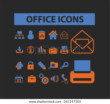 office, document icons set, vector - stock vector