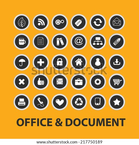 office, document icons, signs, illustrations, vectors, symbols set - stock vector