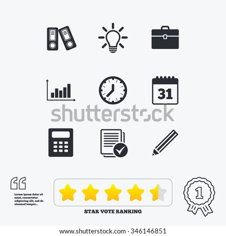 Office, Documents And Business Icons. Accounting, Calculator And Case  Signs. Ideas,