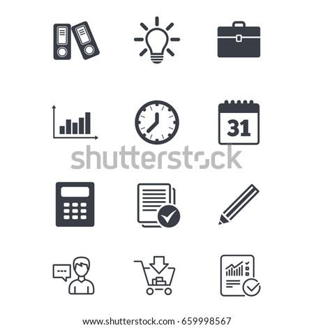 office documents business icons accounting calculator stock vector