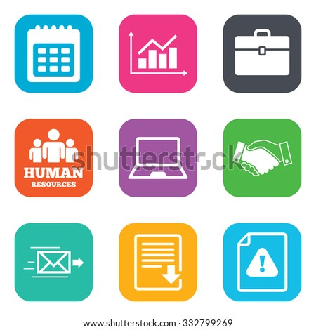 Office, documents and business icons. Human resources, handshake and download signs. Chart, laptop and calendar symbols. Flat square buttons. Vector - stock vector