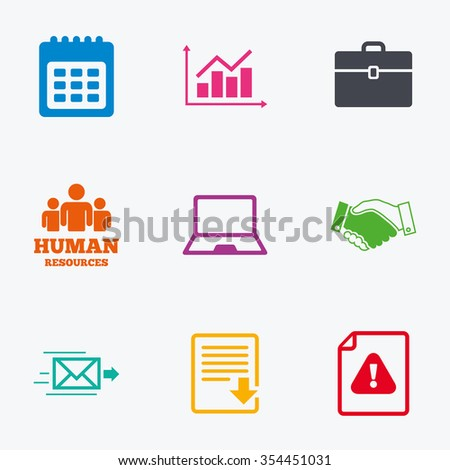 Office, documents and business icons. Human resources, handshake and download signs. Chart, laptop and calendar symbols. Flat colored graphic icons. - stock vector