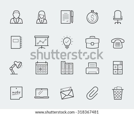 Office elements thin line icon set - stock vector