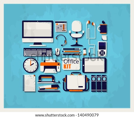 office elements,vector background - stock vector