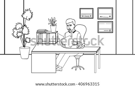 office employee. businessman. businessman. office cabinet. business. Line art doodling. the guy in the office. guy sitting.Business meeting.working environment.- modern vector illustration. - stock vector