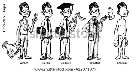 Office employee character depicted in various virtual/symbolic stages throughout his career, winning, normal, graduate, promoted, along with a stripped down version, (medical) checkup. - stock vector