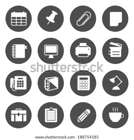 Office Equipment Circle Icons Vector - stock vector