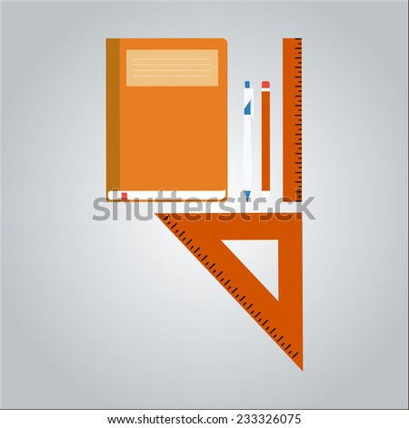office equipment copybook, pen, pencil, ruler, isolated vector illustration - stock vector