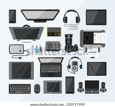 Office equipment flat icons.Set of high tech devices. Collection of modern technology icons from the bird`s eye view.  - stock vector