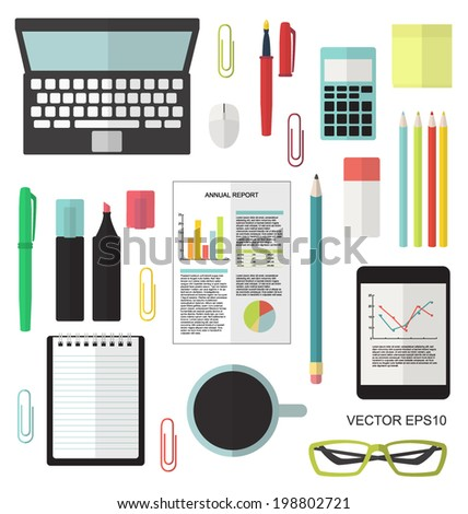 Office equipment flat set vector isolated - stock vector