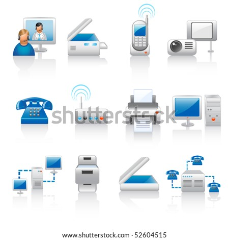 office equipment icons - stock vector