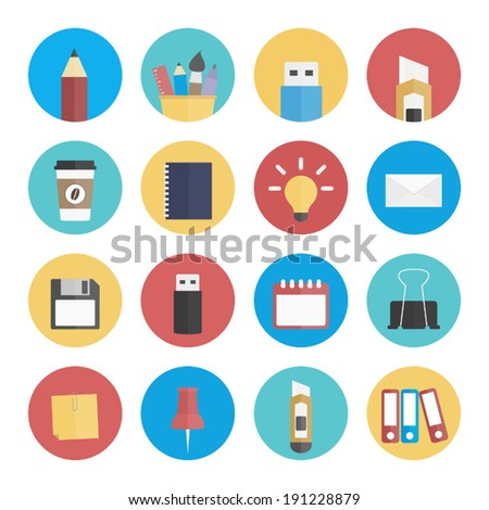 office flat icon set - stock vector