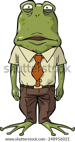 Office frog on a white background vector illustration - stock vector