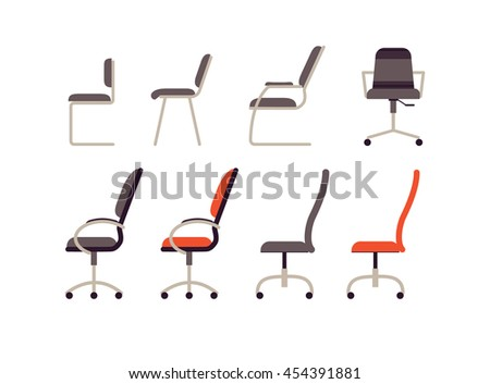 Office furniture. Collection different working chairs and chairs in flat style