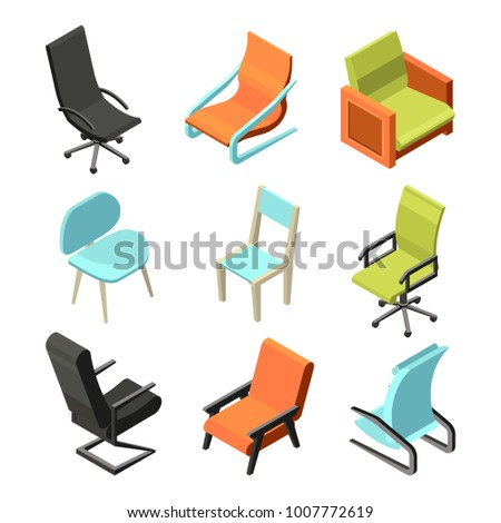 isometric office furniture vector collection. Office Furniture. Different Chairs And Armchairs From Leather. Isometric Pictures Seat Chair, Furniture Vector Collection