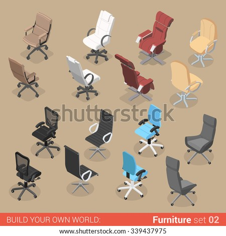 Office furniture set 02 chair seat armchair stool recliner lounge element flat 3d isometry isometric concept web infographics vector illustration. Creative interior objects collection. - stock vector