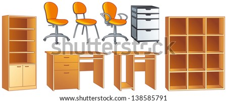 Office furniture set - desk, office chairs, bookcase, commode, shelves. Vector illustration objects set - stock vector