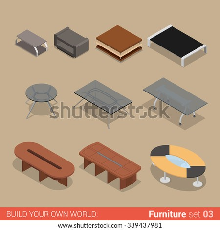 Office furniture set 03 table living meeting room element flat 3d isometry isometric concept web infographics vector illustration. Creative interior objects collection. - stock vector
