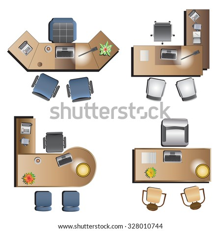 Office Furniture Top View Interior Vector Stock Vector