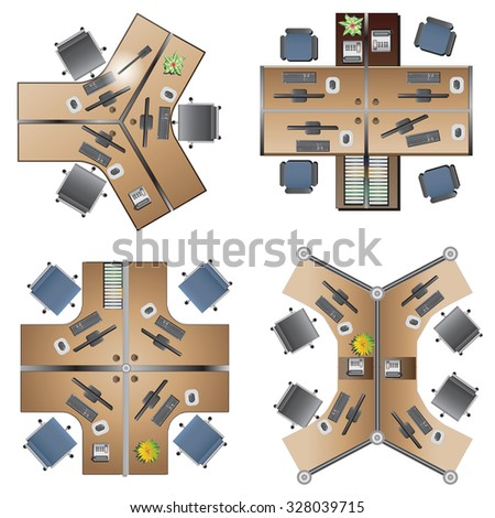 office Furniture, workstation  top view  for interior , vector illustration - stock vector