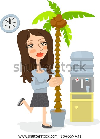 office girl with a palm tree - stock vector