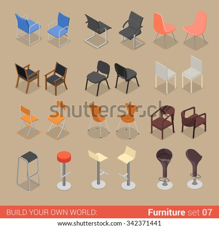Office home bar restaurant furniture set 07 chair seat armchair stool lounge element flat 3d isometry isometric concept web infographics vector illustration. Creative interior objects collection. - stock vector