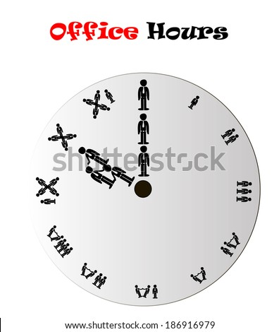 Office hours clock conceptual vector illustration isolated over white background - stock vector