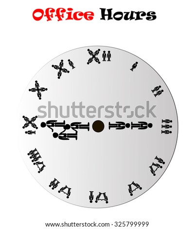 Office hours clock showing 9:15 (morning or evening), conceptual vector illustration isolated over white background - stock vector