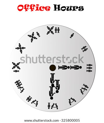 Office hours clock showing 6:15 (morning or evening), conceptual vector illustration isolated over white background - stock vector