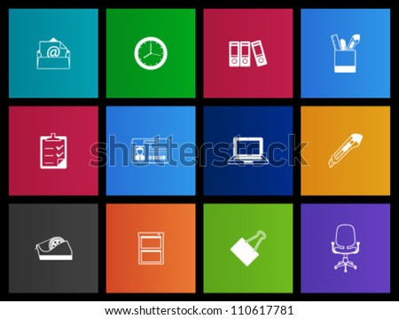 Office icon series in Metro style - stock vector