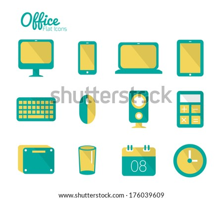 Office icon set. Flat icons. Vector - stock vector