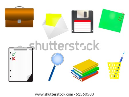 Office icon set. Vector Illustration. - stock vector