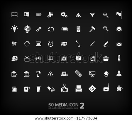 Office Icon set (vector) 2 office ,media, mobile icons