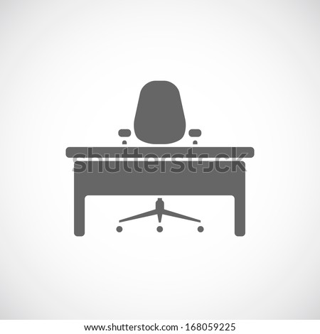 Office icon, table and chair - stock vector