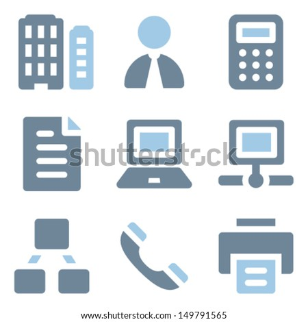 Office icons, blue solid series - stock vector