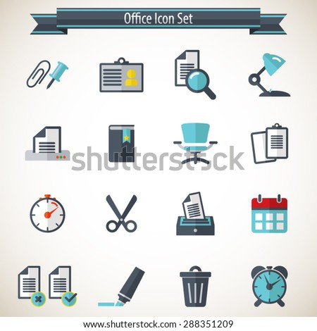 Office Icons - Editable vector icons for video, mobile apps, Web sites and print projects. - stock vector