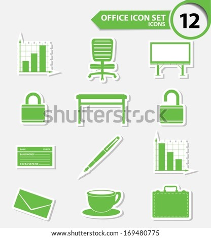Office icons,Green version,vector - stock vector