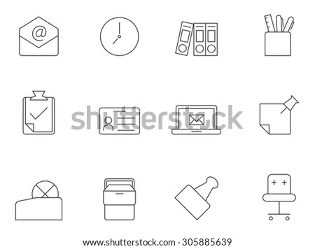 Office icons in thin outlines. Working, workplace. - stock vector