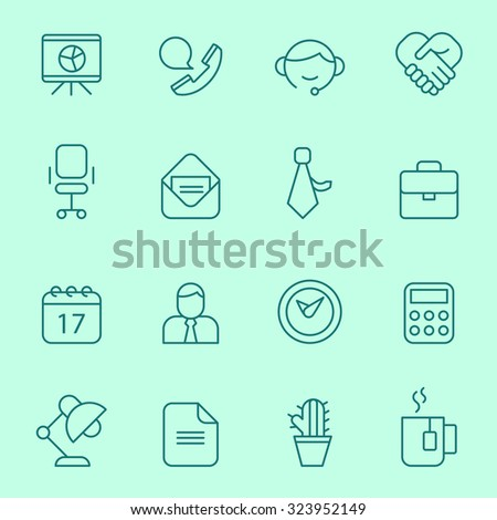 Office icons, line design - stock vector