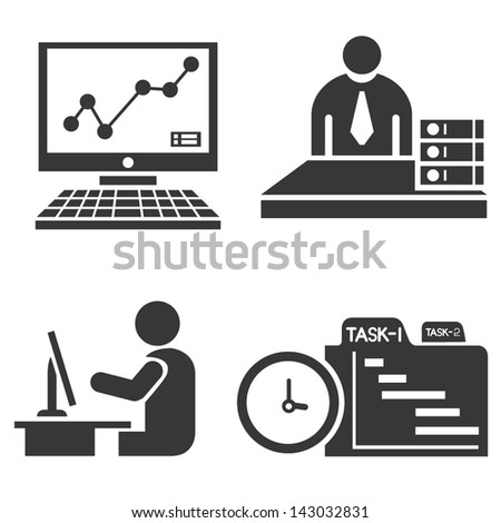 office icons, office people - stock vector