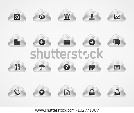 Office icons on metallic cloud buttons, set 2