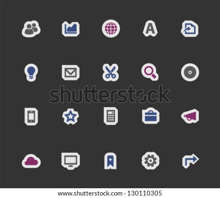 Office icons on modern stickers, set 3
